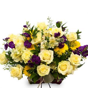 노랑혼합꽃바구니 B208