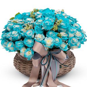 파랑장미100송이꽃바구니 N61