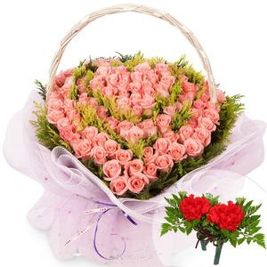 핑크장미100송이하트+코사지