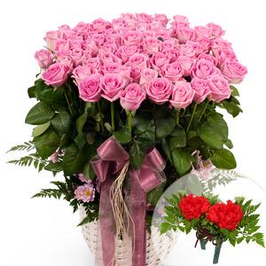 핑크장미꽃바구니+코사지